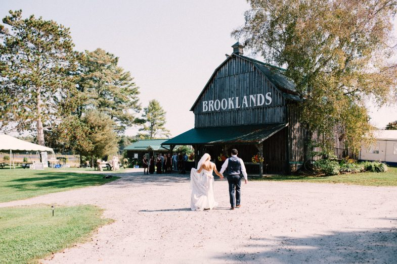 bride and groom and brooklands farms