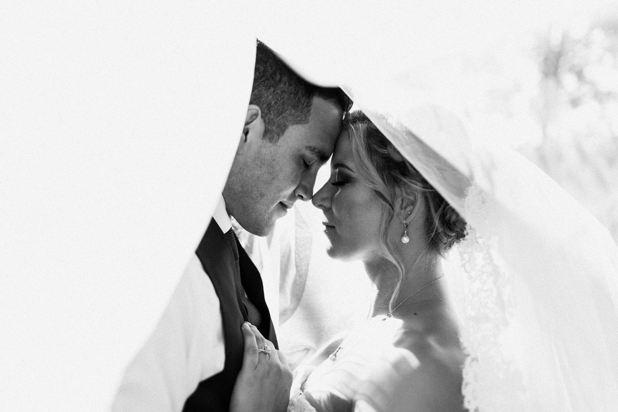 bridal veil framing a bride and groom in an intimate moment