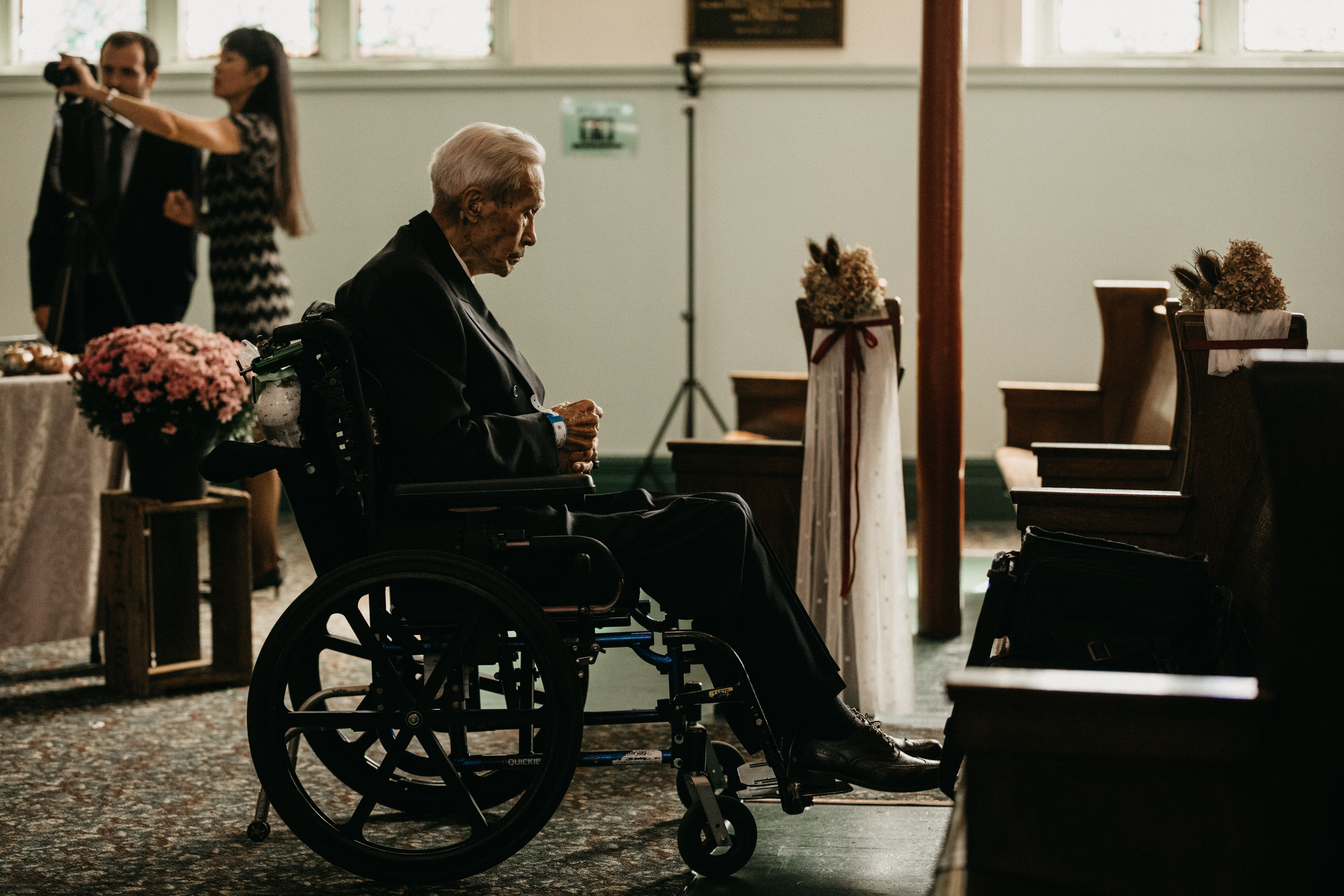 grampa in wheelchair at church