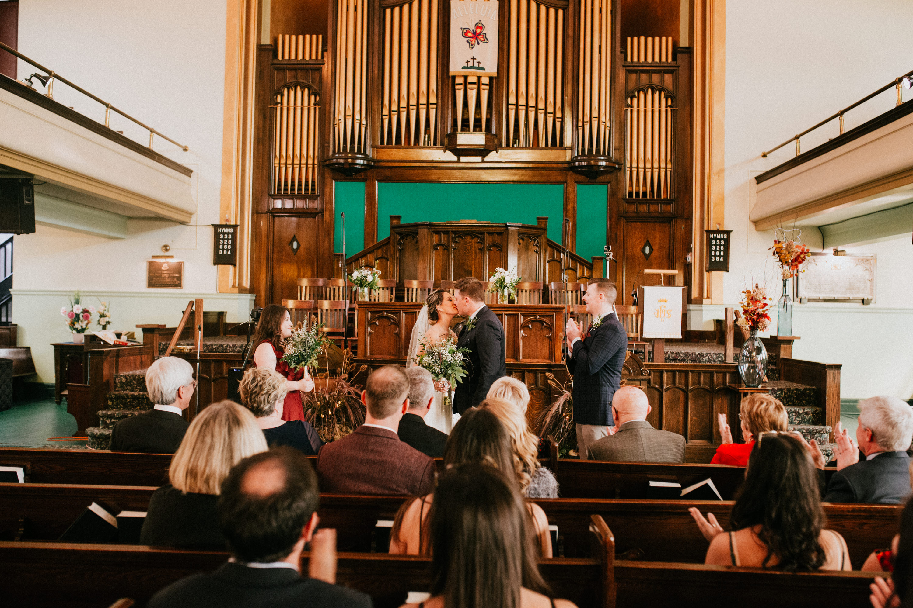 first kiss at a church wedding