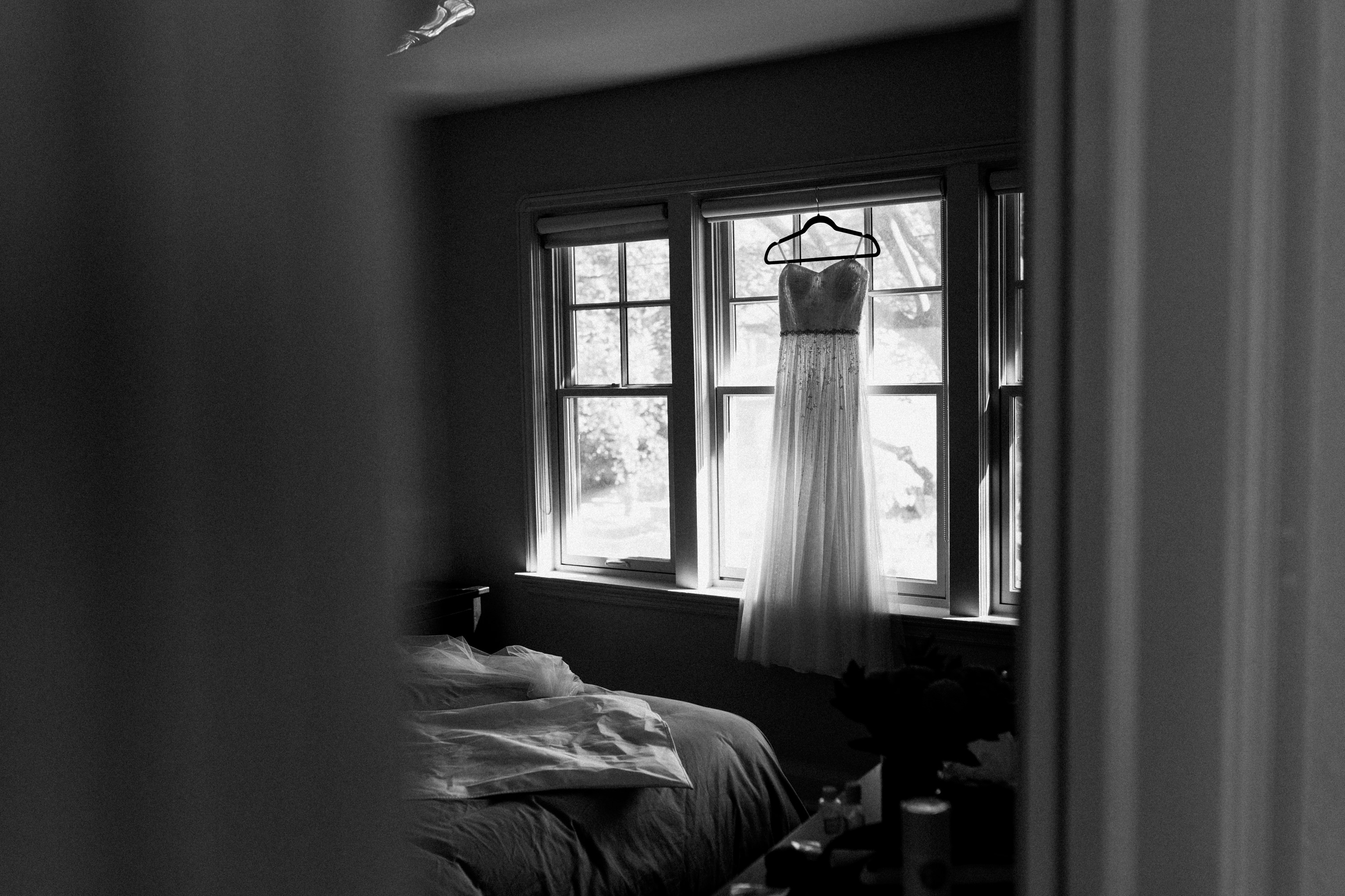 wedding dress window black and white