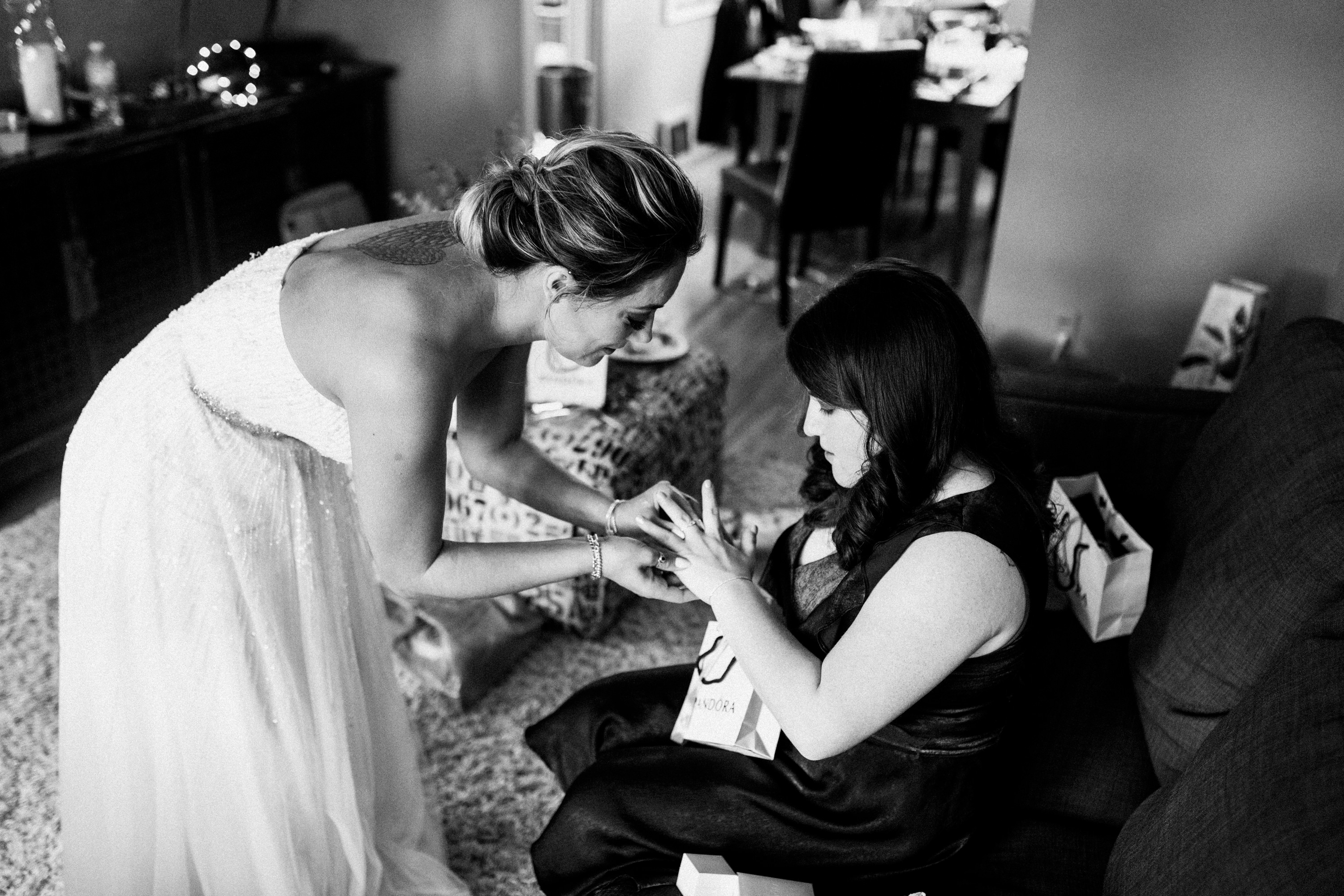 bridesmaid receiving gift
